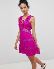 Платье со шнуровкой и оборками Glamorous - Фиолетовый 1175006