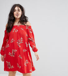 Свободное платье с цветочным принтом AX Paris plus - Красный 1163734
