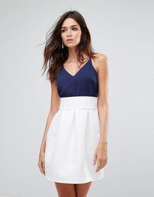 Приталенное платье с контрастной юбкой Ax Paris - Мульти 1135397