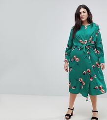 Платье миди с цветочным принтом Influence Plus - Зеленый 1183558