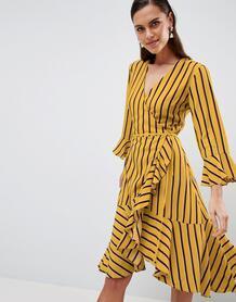 Платье в полоску с запахом и оборками Y.A.S - Мульти 1257817