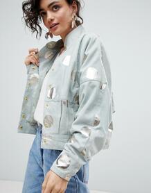 Замшевая куртка с принтом металлик Selected - Зеленый 1242983