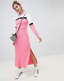Спортивное платье макси в стиле колор блок ASOS DESIGN - Мульти 1223354