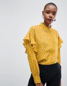 Блузка в горошек с оборками Selected - Желтый 1266191