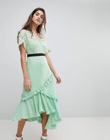 Платье миди с кружевным лифом Three Floor - Зеленый 1203911