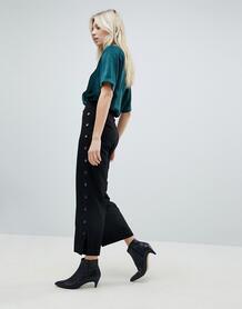 Укороченные брюки с отделкой заклепками Minimum - Черный 1245065