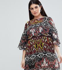 Платье с оборкой и цветочным принтом AX Paris Plus - Мульти 1163753