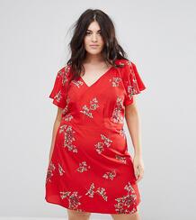 Платье с запахом и цветочным принтом AX Paris Plus - Красный 1163735
