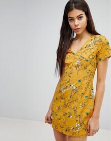 Платье на пуговицах с цветочным принтом Missguided - Желтый 1223742