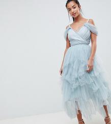 Платье миди на бретелях из тюля True Decadence Petite Premium - Серый 1186456