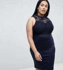 Платье-футляр с кружевной вставкой AX Paris Plus - Темно-синий 1233071