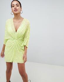 Платье мини с широкими рукавами и пайетками ASOS DESIGN - Зеленый 1230261
