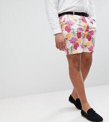 Розовые строгие зауженные шорты с цветочным принтом ASOS PLUS Wedding ASOS DESIGN 1205002
