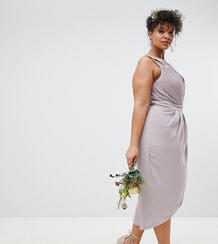 Платье миди с запахом и отделкой TFNC Plus Bridesmaid - Серый 1188543