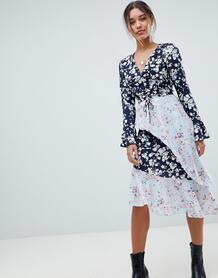 Асимметричное платье с цветочным принтом Missguided - Синий 1236260