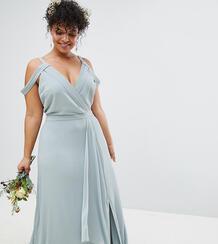 Платье макси с запахом и открытыми плечами TFNC Plus Bridesmaid 1181672