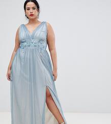 Платье макси из тюля с вышивкой Little Mistress Plus - Синий 1229899