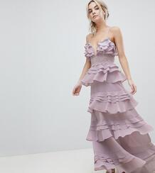 Платье макси на бретелях с оборками и кружевной вставкой True Decadenc True Decadence Petite 1186455