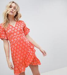 Жаккардовое платье мини с оборками Glamorous Tall - Розовый 1222679