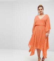 Платье миди в блестящий горошек с широкими рукавами и асимметричным по Asos Curve 1193445