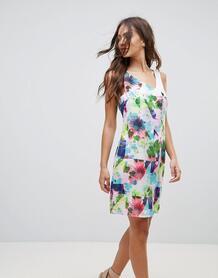 Платье с контрастным цветочным принтом Lavand - Мульти 1120519