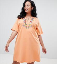 Платье-футболка в стиле оверсайз с вышивкой ASOS CURVE - Оранжевый 1203658