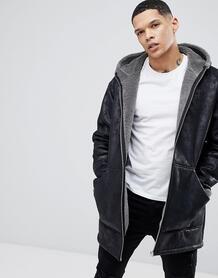 Черная oversize-куртка из искусственной овчины с капюшоном River Islan River Island 1216737