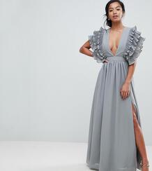 Платье макси с глубоким вырезом и отделкой на плечах True Decadence Pe True Decadence Petite 1186445