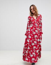 Платье макси с цветочным принтом и запахом Liquorish - Красный 1183179