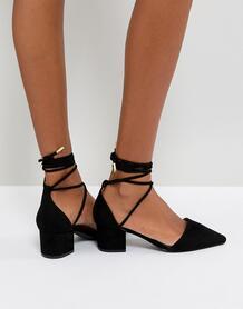 Черные туфли на среднем каблуке с завязкой на щиколотке RAID - Черный 1214735