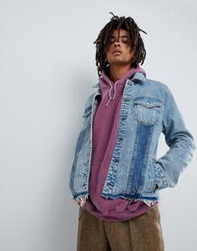 Синяя состаренная джинсовая куртка с контрастными вставками Mennace 1225811