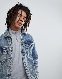 Джинсовая куртка с эффектом кислотной стирки и потертостями Mennace 1225755