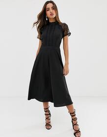 Приталенное платье миди с кружевной отделкой Liquorish - Черный 1183151