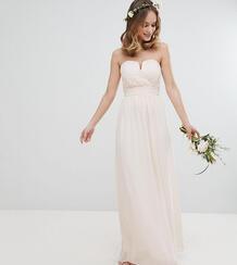Платье макси с лифом-бандо TFNC Petite - Розовый 1181298