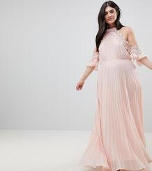 Плиссированное свободное платье с открытыми плечами Truly You Plus 1186547
