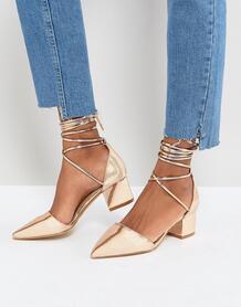 Розово-золотистые туфли на блочном каблуке с завязкой вокруг щиколотки Raid 1214736