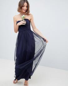 Платье-бандо макси из тюля ASOS DESIGN - Темно-синий 1204226