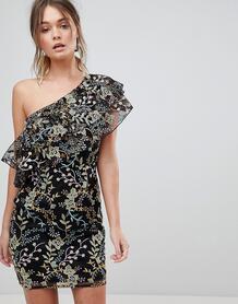Платье мини на одно плечо с цветочной вышивкой Dolly & Delicious Dolly Delicious 1202813