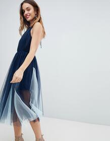 Платье миди из тюля ASOS PREMIUM - Темно-синий ASOS DESIGN 1205201