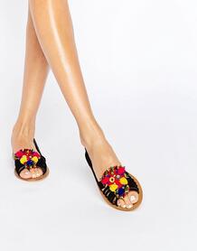 Замшевые летние туфли с отделкой помпонами ASOS JEANA - Черный ASOS DESIGN 931853