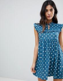 Чайное платье в горошек без рукавов Motel - Синий 1229250
