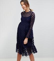 Короткое приталенное сетчатое платье в горошек Queen Bee - Темно-синий 1225170