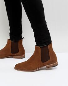 Светло-коричневые замшевые ботинки челси Walk London - Рыжий 1178932