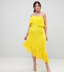 Кружевное асимметричное платье миди на одно плечо с поясом ASOS CURVE 1222738