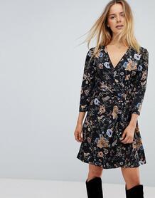 Платье с запахом и цветочным принтом Liquorish - Мульти 1183143