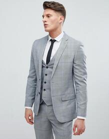 Серый клетчатый пиджак зауженного кроя River Island - Серый 1228143