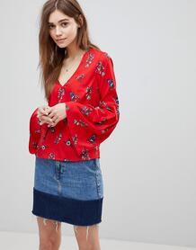 Топ с цветочным принтом и расклешенными рукавами Influence - Красный 1175215