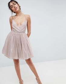 Платье мини металлик из тюля ASOS - Розовый ASOS DESIGN 1151201