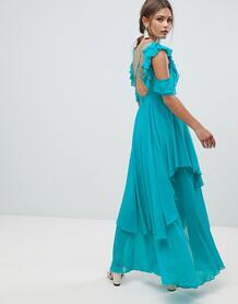 Платье макси с вырезом на спине и оборками ASOS - Синий ASOS DESIGN 1191671