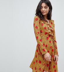 Чайное платье с запахом, оборками и принтом Glamorous Tall - Мульти 1205960